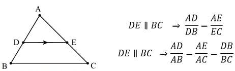 هرگاه خطی موازی با یک ضلع مثلث، دو ضلع دیگر مثلث را قطع کند، روی آنها پاره خطهای متناسب ایجاد می¬کند